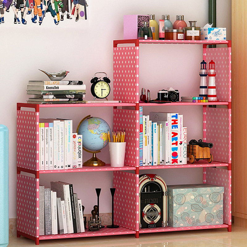 Five grid living room multi functional non woven cloth shelves home ...