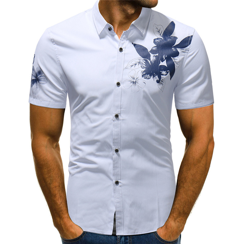 2018 shirt Men Summer New Brand Flower Printing Short Sleeve Basic Shirt Blouse Cotton Top Size M-2XL camisa masculina #FJ20 ...