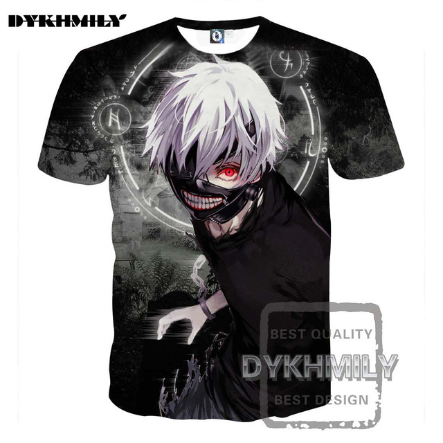 e3e2395cfd1 Dykhmily 2017 Summer New Design Tokyo Ghoul Anime Character Round Aperture  White Hair 3d Print Soild Funny T Shirt Men Fashion