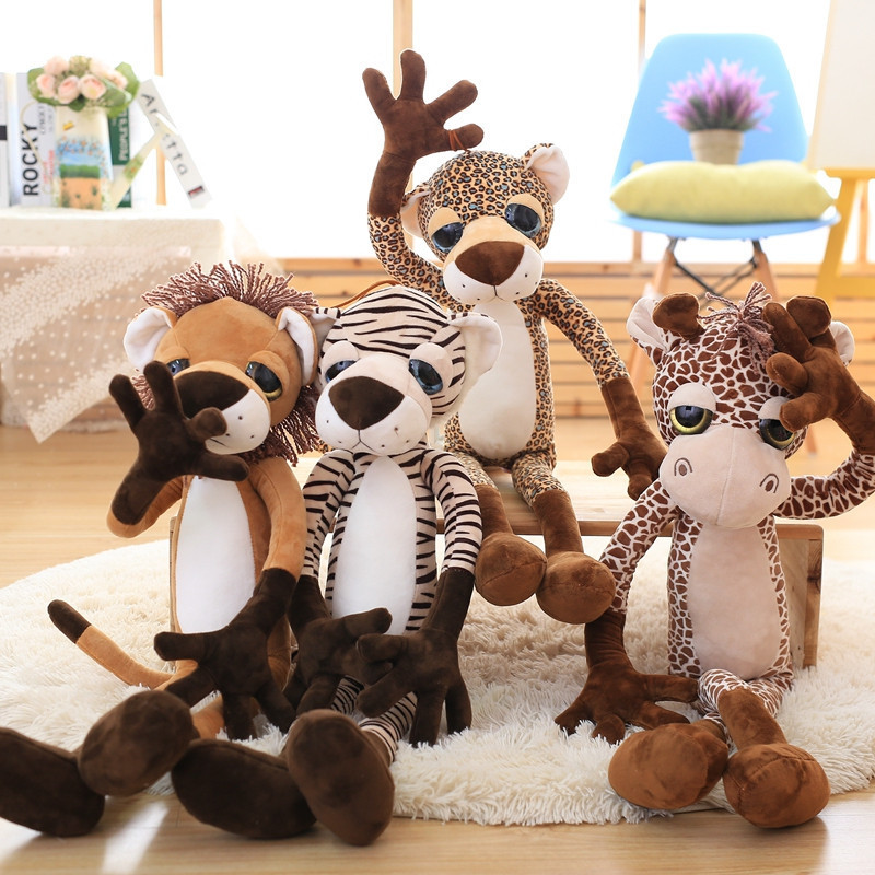 Cartoon Animal Plush Toy Forest Animal lion,leopard, zebra, deer, Plush Doll Kids Toy Baby Girl christmas gift free shipping