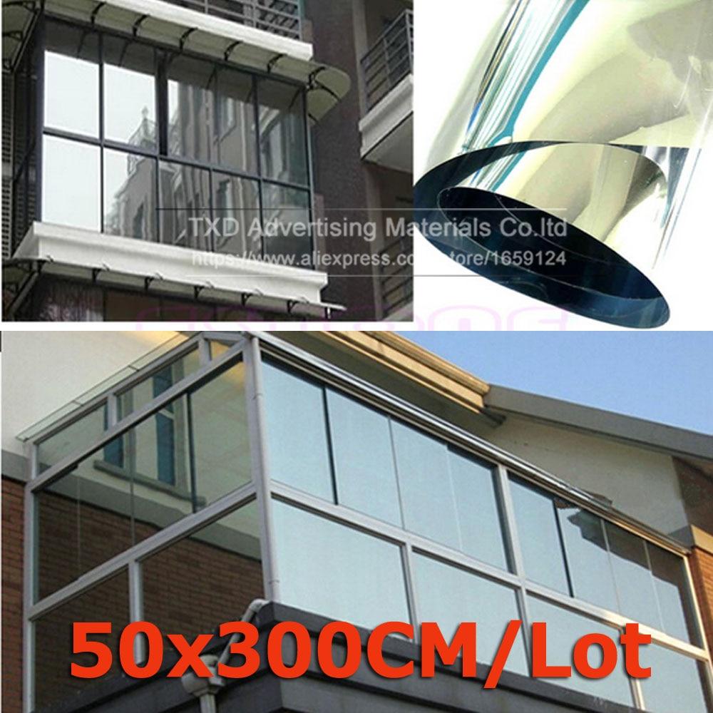 50cmx300cm lot silver window film one way mirror for Window insulation rating