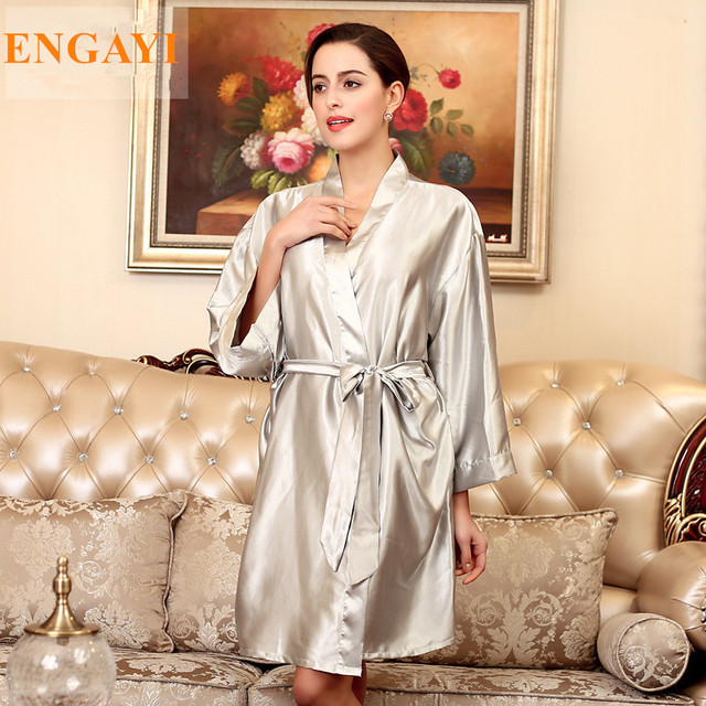 12 Color Plus Size Silk Satin Robe Bathrobe Longue Femme Autumn Women Sexy  Robes Nightgown Nightwear Nightdress Night Gown WP131 f5e641fa6