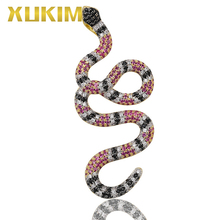 Xukim Jewelry Iced Out Zirconia Animal Colorful Snake Pendant Necklace Hip Hop for Men Punk Rapper Gift Party
