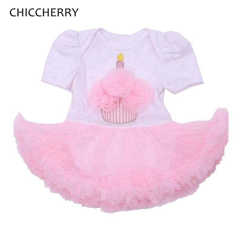 010d2791e1 Różowy Cupcake Aplikacja Maluch Białe Koronki Romper Sukienka 1st   2nd  Dziecko Urodziny Stroje Macacao Bebe Dziewczyny Odzież Dla Niemowląt Odzież