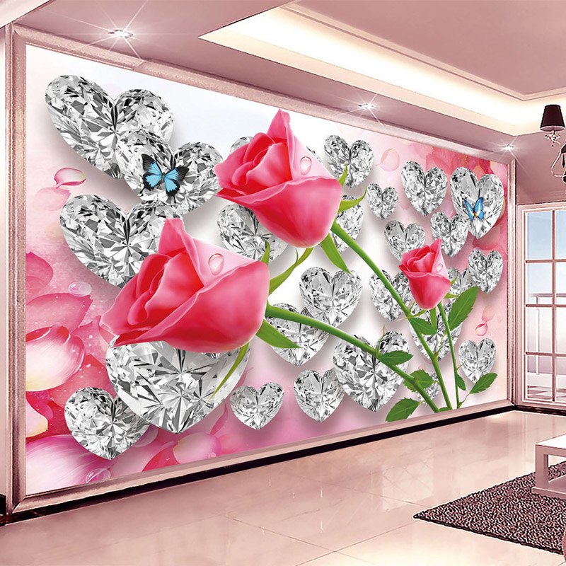 3D Wallpaper Romantic Stereo Diamond Roses Creative Photo Wall Mural Wedding House Bedroom Home Decor Wall Cloth Papel De Parede