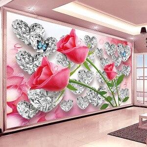 3D Wallpaper Romantic Stereo Diamond Roses Creative Photo Wall Mural Wedding House Bedroom Home Decor Wall Cloth Papel De Parede(China)