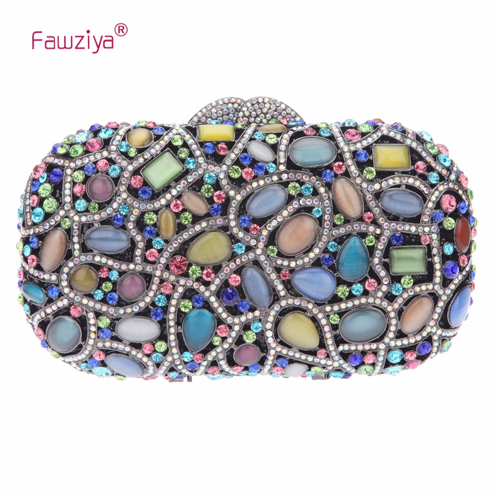 Fawziya Manmade Cat's Eye Stone Clutch Evening Bags For Womens Purses