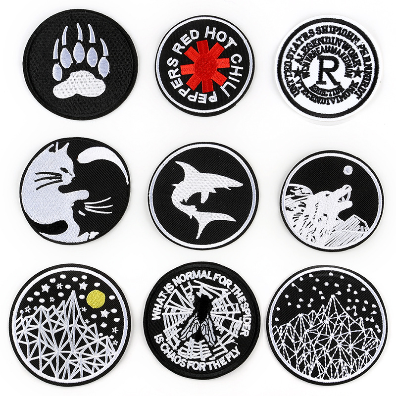 Black And White Animals Embroidery Patches For T-shirt Iron On Stripes Appliques Starry Sky Clothes Stickers Clothing Badges @G
