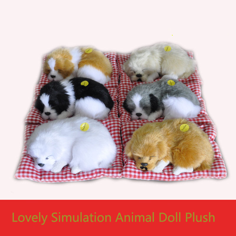 Simulation Dog  Lovely Simulation Animal Doll Plush Sleeping Dogs Toy with Sound Kids Toy Decorations Christmas Gift For kids banana shaped plush doll toy with sound effect for pet yellow