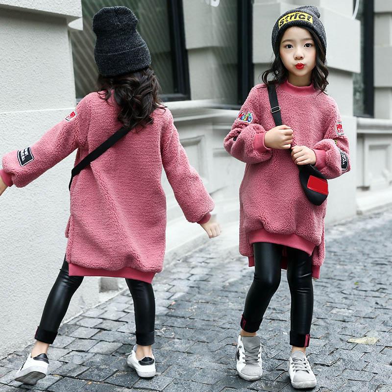 Girls Long Sweatshirts Hoodies Children Clothing Autumn And Winter Baby girl Thick Cotton Tops Kids Fashion Coat недорго, оригинальная цена