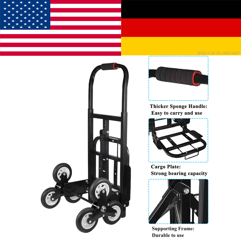 Stair Climber Hand Truck, SOLID RUBBER TIRES-440LBS Barrow Hand Truck Bracket Roll Cart  ...