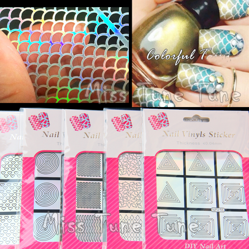 Multiple-Use Nail Art Hollow Laser Silver Stencils Stickers Vinyls Image Transfer Easy Stamping 12 Styles Mermaid Leopard
