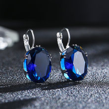 CARSINEL 4 color 13*18mm Big Oval Blue AAA+ Cubic Zirconia Silver color Hoop Earrings for Women Fashion Crystal CZ Bijoux Girls(China)