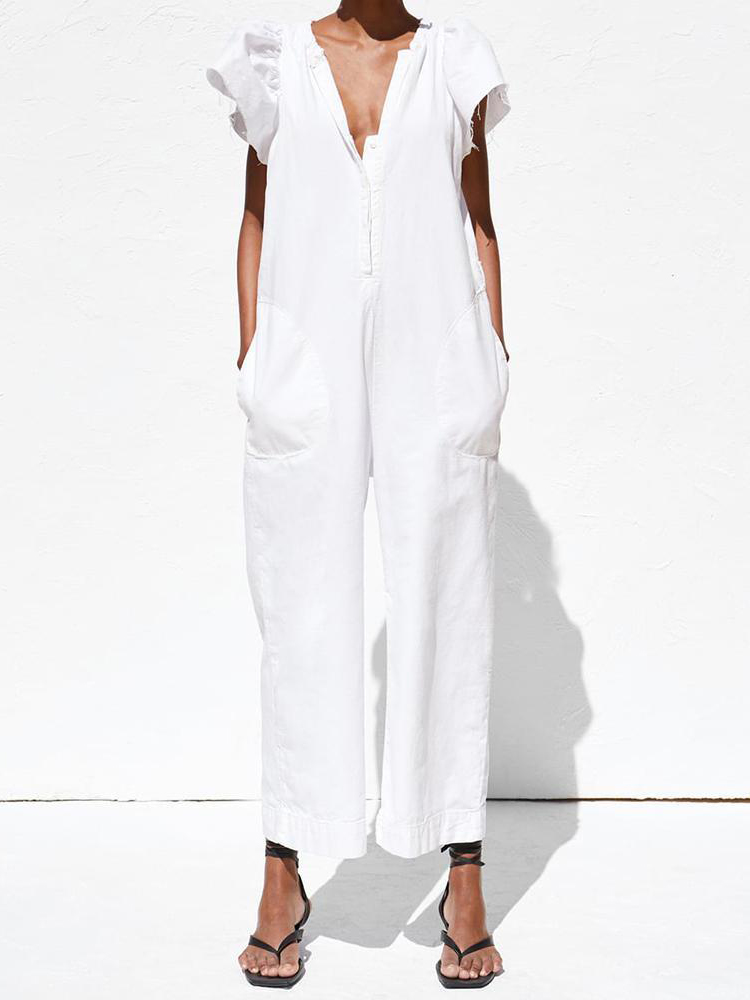V-Neck Ruffled Pocket Cool Women's   Jumpsuit   2019 White Short Sleeve Playsuit Casual Slim Rompers Cotton Summer Overalls