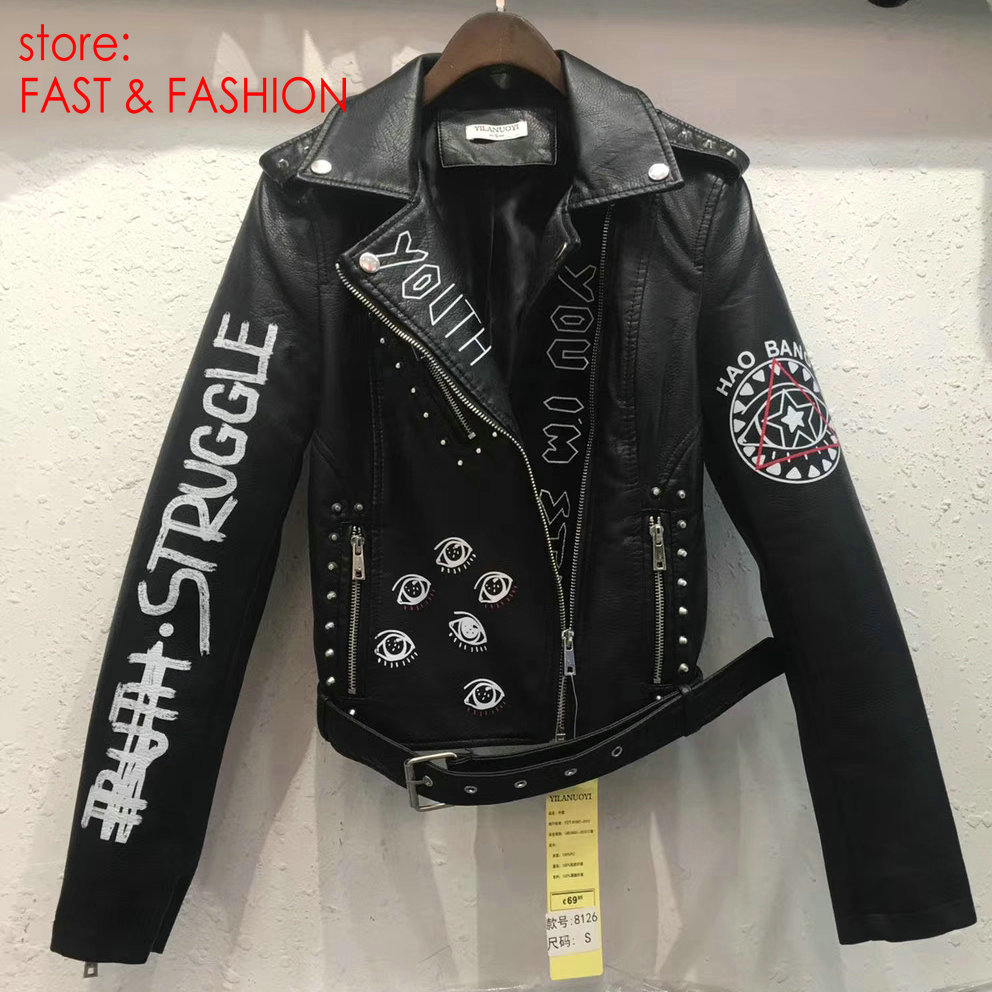 2019 New Women Autumn Winter Faux Soft   Leather   Jackets Coats Lady Black PU Rivet Zipper Epaulet 3D print Motorcycle Streetwear