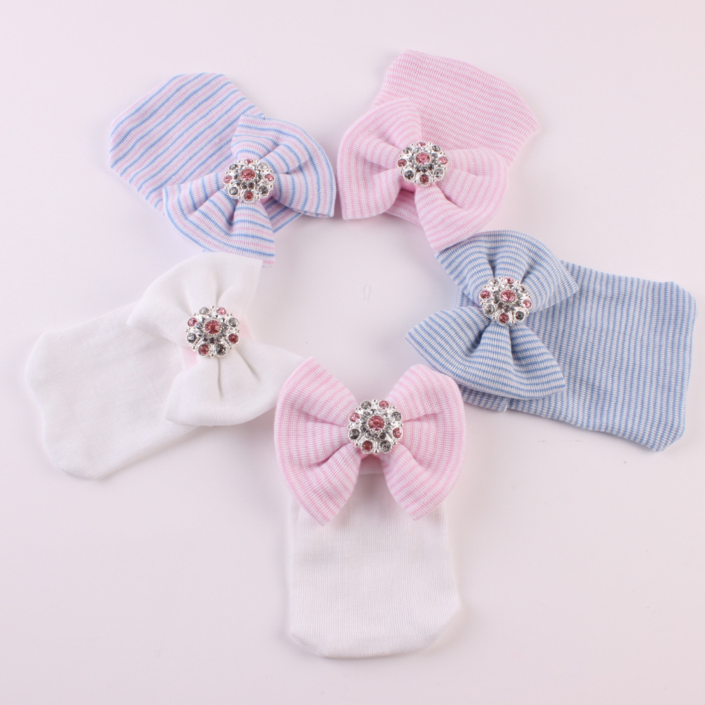 цены Newborn cap Cotton Beanie rhinestone Bow hat Soft Knit Striped Cap baby supplies baby photo prop