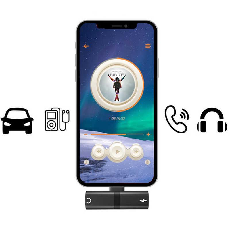 Dla iPhone X 10 7 8 Plus ładowania Audio podwójny Adapter Splitter kable do lightning Jack do słuchawek przewód AUX konwerter