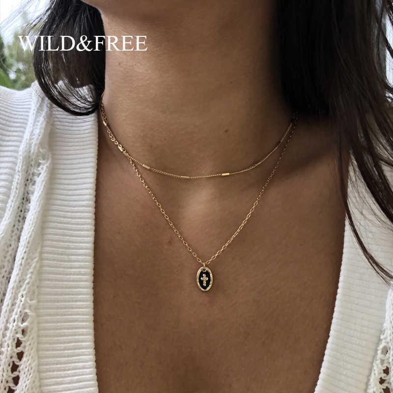Wild & Gratis Cross Berlapis Kalung Wanita Dua Lapisan Warna Emas Jaringan Chokers Bulat Liontin Kalung Kerah Perhiasan