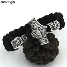 Nostalgia Thor Hammer Mjolnir Runes Beads Viking Bracelet Norse Vikingos Accessories Scandinavian Bracelets & Bangles Men Women norse vikings amulet pendant necklaces hammer of thor mjolnir pendants sweater chain necklace animal wolf head viking jewelry