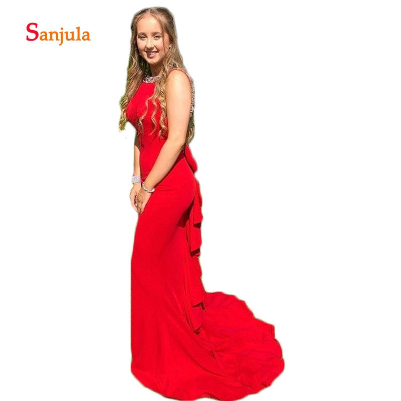 Backless Sexy   Prom     Dress   Gowns 2019 Sccop Sheath Red Evening Party   Dress   Back Ruffles Bow Girls Graduation   Dresses   D1069