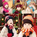 Fashion New Acrylic Baby Boy Girl Children Crochet Knit Winter hat with scarf/set Beanie Cap  Free shipping 5 colors Y1