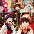 Moda de Nova Acrílico Do Bebê Da Menina do Menino Crianças Crochet Knit Inverno hat com lenço/set Cap Gorro Frete grátis 5 cores Y1