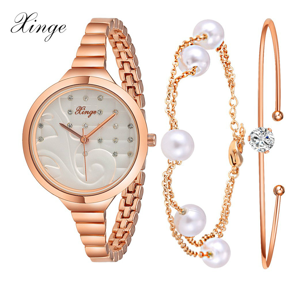 Xinge Brand Watch Women Bracelet Pearl Jewelry Watch Set Wristwatch Waterproof Fashion Popular Women Bracelet Ladies Watch xinge brand watch women bracelet rhinestone chain bangles jewelry watch set wristwatch waterproof ladies gold quartz watch