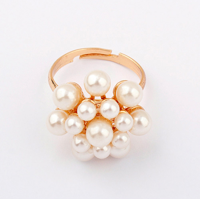 New Style Fashion Korean Golden Elegant Women Ladies Lovely Girls Simulated Pearl Flower Ring Women's Jewelry aneis feminino 1