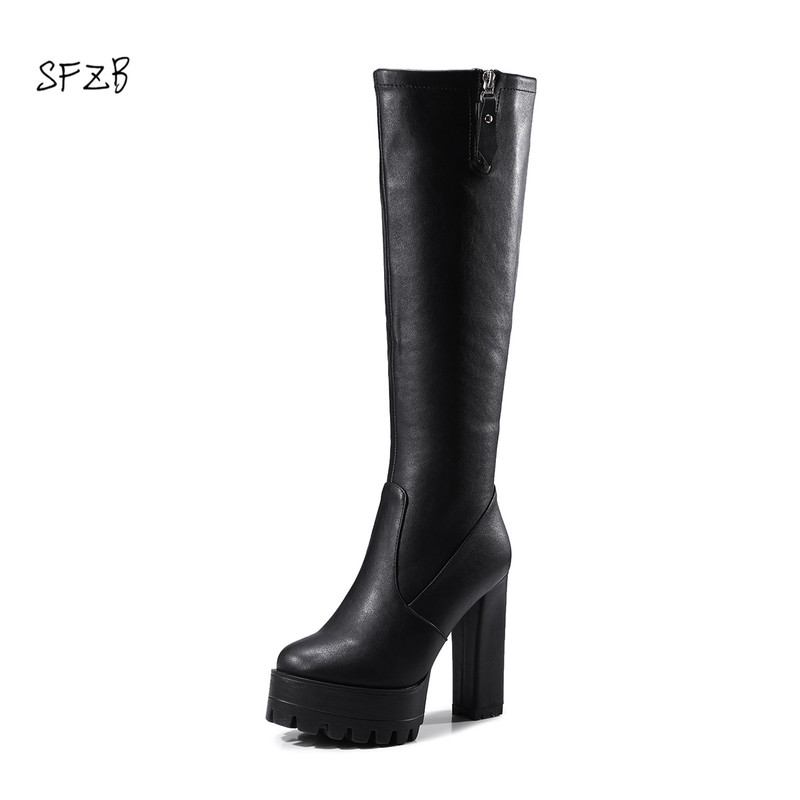 SFZB 2018 Winter Knee high Boots Women Shoes pu Leather Zipper Square Heels Thigh High Boots Female Footwear