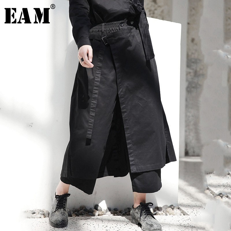 EAM 2019 New Spring High Elastic Waist Black Loose Vent Loose Long Wide Leg Pants
