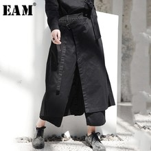 [EAM] 2019 New Spring High Elastic Waist Black Loose Vent Loose Long Wide Leg Pants Trousers Women Fashion Tide JI084 [eam] 2018 new summer fashion tide black o neck short sleeve loose striped t shirt and elastic waist wide leg pants set sa055