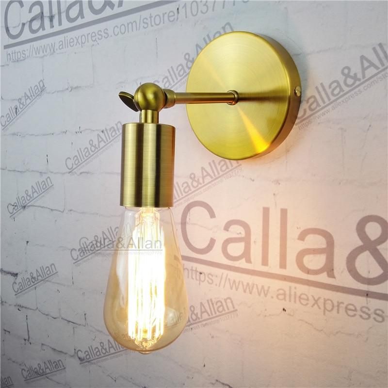 Antique gold brass Wall lamp fixture E27 Loft american retro vintage iron light fixture 40W Antique lamp industrial AC90-260V n light 407 06 53abw antique brass walnut