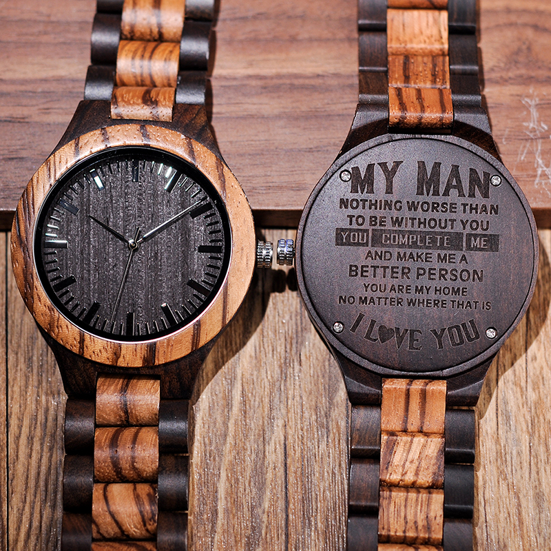 Engraved Wooden Watch Personalized Watches Gifts For Dad,Lover's Birthday,Anniversary Day,Groomsman Gift