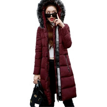 2016 New Women Winter Coat Hooded Cotton Down Jacket Medium Long Thick Parkas Women Warm Fur Collar Winter Coat Women SK05