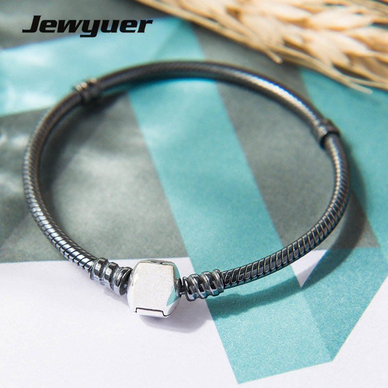 High quality Oxidized silver bracelets for women snake chain bangle fit bead charm 925 sterling silver