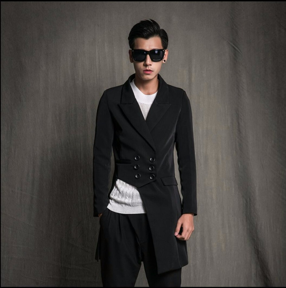 Autumn And Spring Men's New Fashion Hairstylist Asymmetry Suit Tide Single Suit Jacket Coat Singer Stage Costumes Clothing