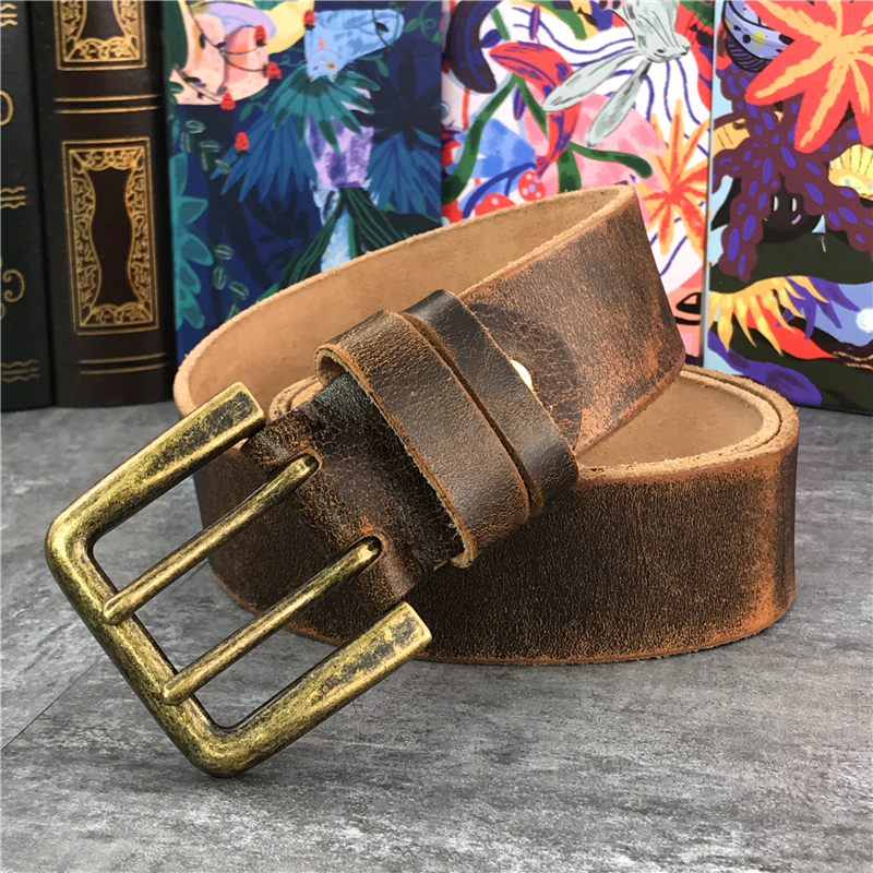 130 CM-138 CM cinturón largo de cuero grueso de lujo cinturón de hombre ancho 4,3 CM doble hebilla Ceinture Jeans cintura cinturón amarillo MBT0018