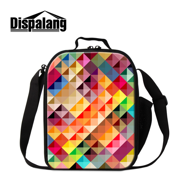 Dispalang dazzling and colorful graphics printed lunch cooler bags for children girl lovely gifts 3D geometry thermal lunch bag