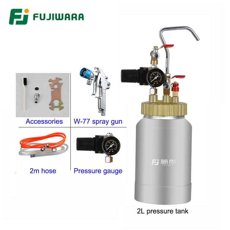 FUJIWARA Pneumatic Imitation Stone Paint Spray Gun Colourful Lacquer Airbrush High-capacity 2L Pressure Bucket Marble Paint automatic pneumatic pressure barrels paint mixing bucket irrigation spray paint tool 20l with 3m paint tube