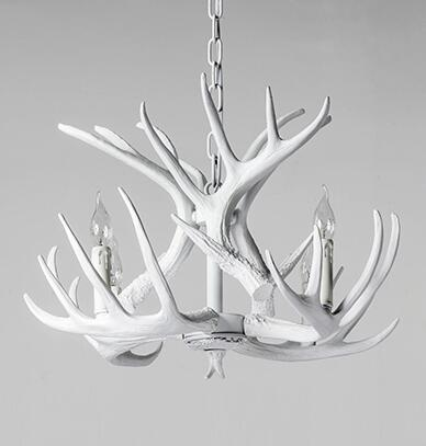 The deer American village dining room bar chandelier RETRO art bar creative personality white antler pendant lamp american living room retro art chandelier nordic country antler chandelier clothing store villa candle lamp
