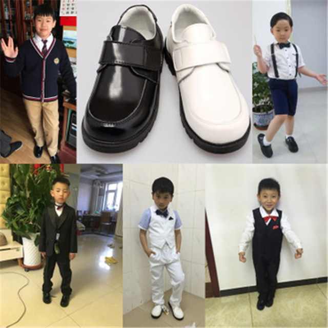 Spring Autumn Children Casual leather shoes Genuine leather Kids Flats Boys Girls Dress shoes School wedding Show shoes 03K