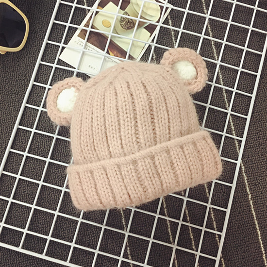 60fd054d7e9 Cute Bear Ears Knitted Hats for Children Winter Warm Knit Beanie Thick Baby Caps  Animal Hats for Girls Panda Hat for a Boy Caps