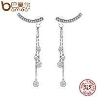 BAMOER Projekt Nowy 100% 925 Sterling Silver Swinging Światła Długi Kutas Spadek Kolczyki dla Kobiet Srebro Biżuteria SCE140