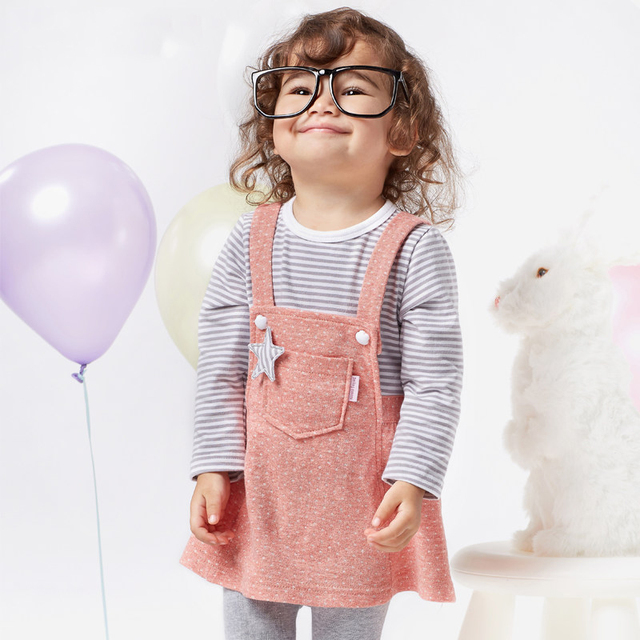 67ced4e39a 2016 Spring Summer Kids Dress Set Baby Girls Overall Dress 2 pcs Dress Set  Birthday Cotton Frocks for 1 2 3 Years Old Toddlers