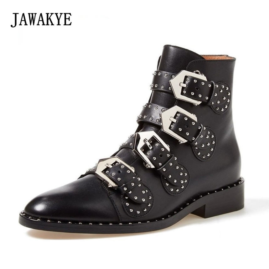 JAWAKYE Round Toe Metal Buckle Studded Ankle Boots Women Flat Genuine Leather Winter Shoes Ladies Gladiator Motorcycle Boots jawakye round toe silver chains studded ankle boots women flat heel genuine leather winter shoes motocycle boots for women