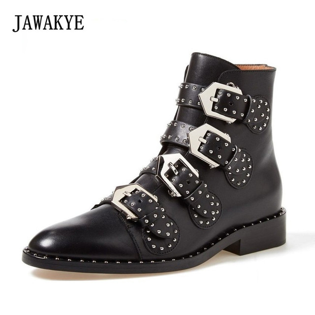 JAWAKYE Round Toe Metal Buckle Studded Ankle Boots Women Flat Genuine  Leather Winter Shoes Ladies Gladiator Motorcycle Boots 5a3dfd803a50