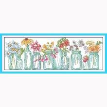 Vases à fleurs comptés point de croix, Kit de bricolage 14CT DMC, Kits pour Kits de broderie, point de croix, bricolage