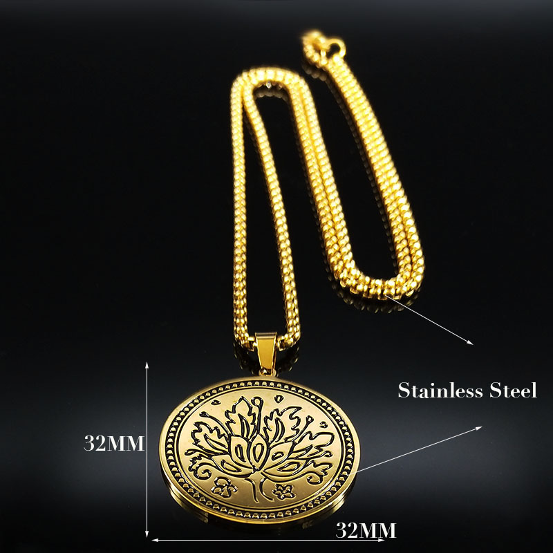 2019 Fashion Flower of life Stainless Steel Necklace for Women Gold Color Lotus Chain Necklaces Jewelry collar mujer N18770 in Pendant Necklaces from Jewelry Accessories