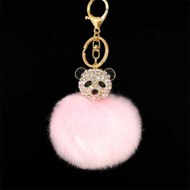 Cute Puffy Pom Pom Ball Key Chains Rhinestone Panda Handmade Fur Key Ring  Bags Pendant Decor 73b31bfa53ac3