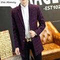 2016 зима новый мужская Англия Средний стиль красный плед пальто молодежи Корейской версии Тонкий Моды костюм воротник куртки M-5XL